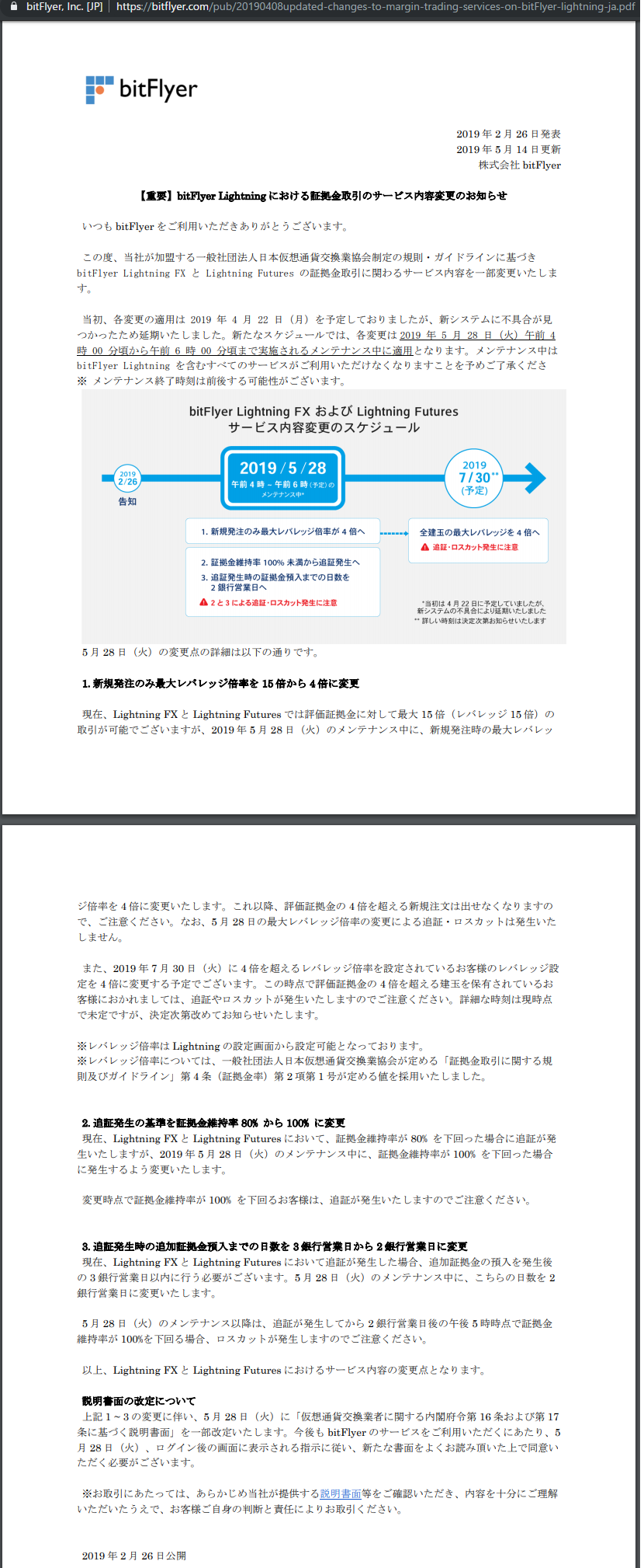 bitFlyerLightning(FXBTCJPY)でレバレッジ15倍の新規注文が出せるのは2019年5月28日(火)朝3時59分まで! https://bitflyer.com/pub/20190408updated-changes-to-margin-trading-services-on-bitFlyer-lightning-ja.pdf